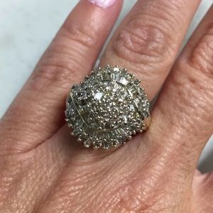 Large 3 carat 10k yellow gold diamond cluster ring